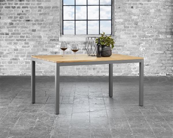 Gartentisch Classic Teakholz Alu Gestell 160 x 100 cm mit Weinglas - bowi.ch