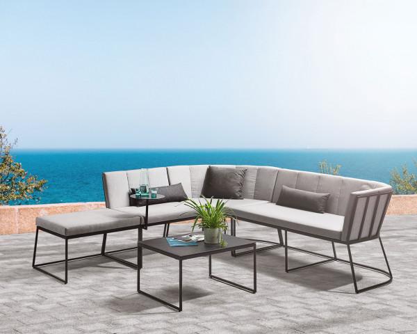 Lounge Corner Set Rechts Aluminium Anthrazit Kissen Sunbrella® Grau-Gartenmöbel BOWI - bowi.ch