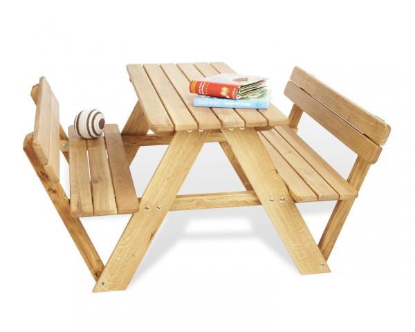 Kindergarnitur Lilli bestehend aus einem Tisch mit zwei Bänken und Rückenlehne - bowi.ch
