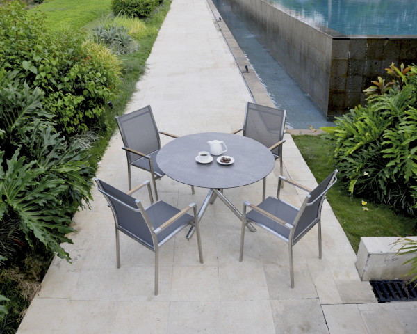 Gartentisch Set Mikado One Rund HPL Batyline® Textilen Gartenmöbel BOWI - bowi.ch