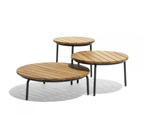 Beistelltisch Starling Rund Tischplatte Akazienholz Gestell Edelstahl Anthrazit - bowi.ch