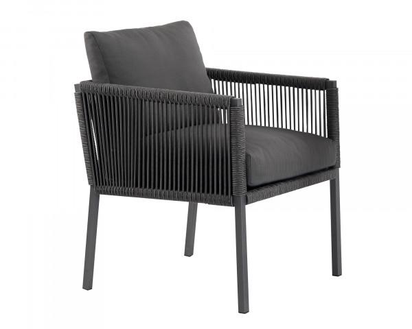 Lounge Dining Sessel Club geschnürt anthrazit Aluminium Gartenmöbel BOWI - bowi.ch