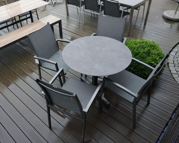 4er Gartentisch Set Rund Pin Bistro HPL klappbar stapelbar in der Ausstellung - bowi.ch