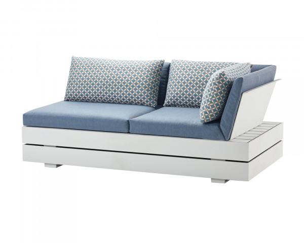 Garten Lounge Boxx 2er Endeinheit Rechts wasserfeste Kissen in Hellblau Zierkissen gemustert Grestell Aluminium Weiss mit Aufbewarungsboxox - bowi.ch