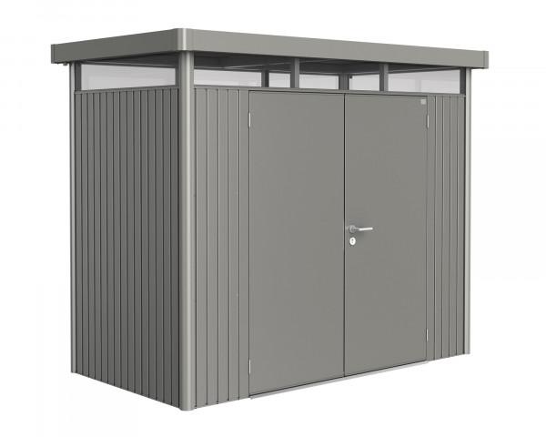 Das Gerätehaus HighLine® H1 mit Flachdach und durchgehendem Oblicht Quarzgrau Metallic Doppeltüre türe - bowi.ch