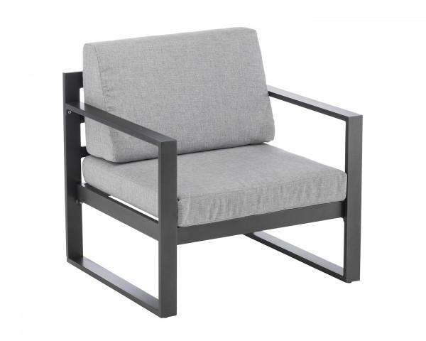 Lounge Sessel Garten Ocean Aluminium Anthrazit inkl. Sitz- und Rückenkissen Grau Möbel BOWI - bowi.ch
