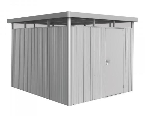 Das Gerätehaus HighLine® H5 mit Flachdach und durchgehendem Oblicht Silber Metallic Standardtüre - bowi.ch