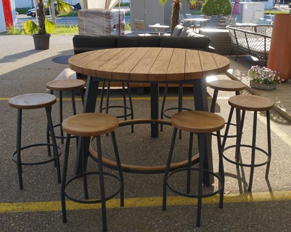 Gartenbar Set Texas Canada rund Gross Teakholz Gestell Aluminium Anthrazit - bowi.ch
