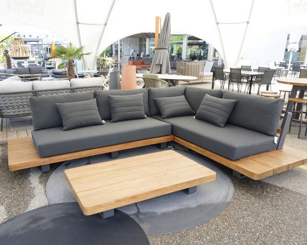 Grosse Garten Lounge Set Fritz Roy L-Form Sunbrella® Textilen Teakholz - bowi.ch