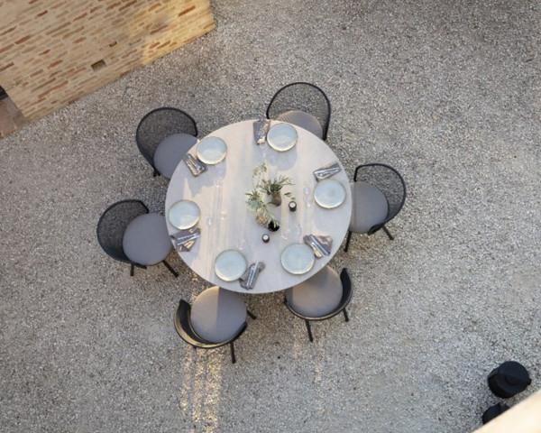 Gartentisch Branta rund 160 cm Keramik Gestell Edelstahl Anthrazit Sessel Baza Todus - bowi.ch