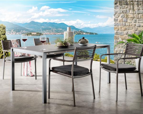 Tisch Set Mano ausziehbar Gestell Aluminium gepulvert Bespannung Textilenband Anthrazit stapelbar - bowi.ch