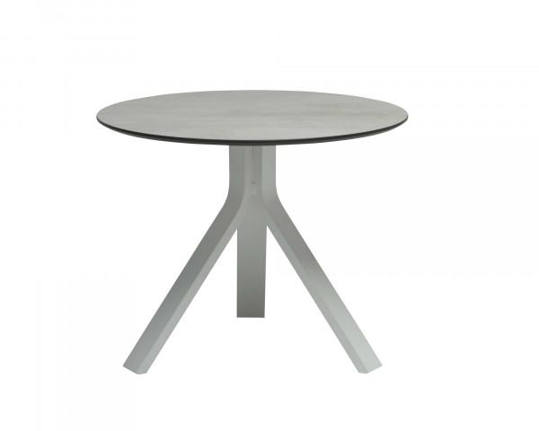 Kaffeetisch oder Beistelltisch Rund Tischplatte HPL Gestell Aluminium Weiss - bowi.ch