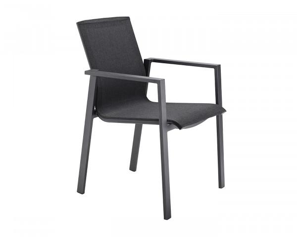 Trend Stuhl mit Armlehne Textilen Deluxe Coal, Gestell Aluminium Anthtrazit - bowi.ch