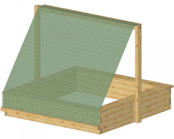 Aufbau Sonnenschutz für Sandkasten Conny mit Sandkastennetz Grün Zeichnung - bowi.ch