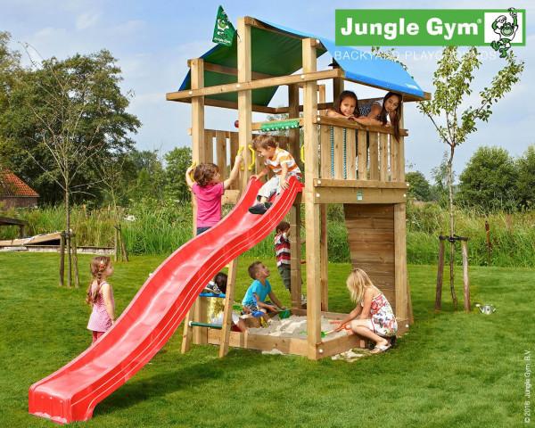 Spielturm Fort Jungle Gym mit Kletterwand, Klettersprosse, Rutschbahn und Sandkasten - bowi.ch
