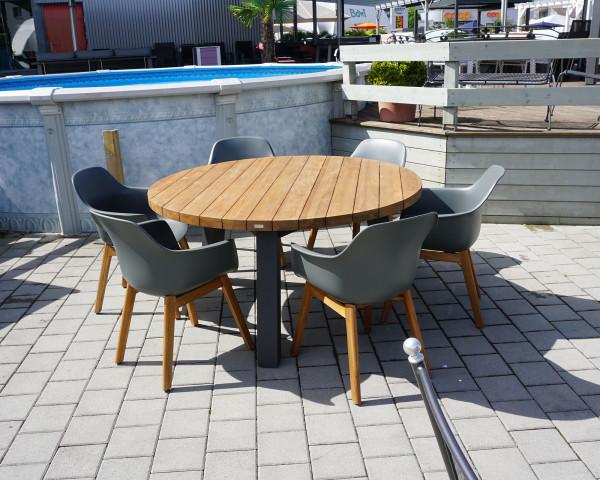 Gartentisch Set Texas Denver Runb Gross 6 Stühle Teakholz Aluminium - bowi.ch
