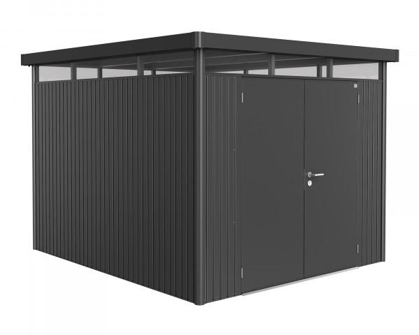 Das Gerätehaus HighLine® H5 mit Flachdach und durchgehendem Oblicht Quarzgrau Metallic Doppeltüre - bowi.ch