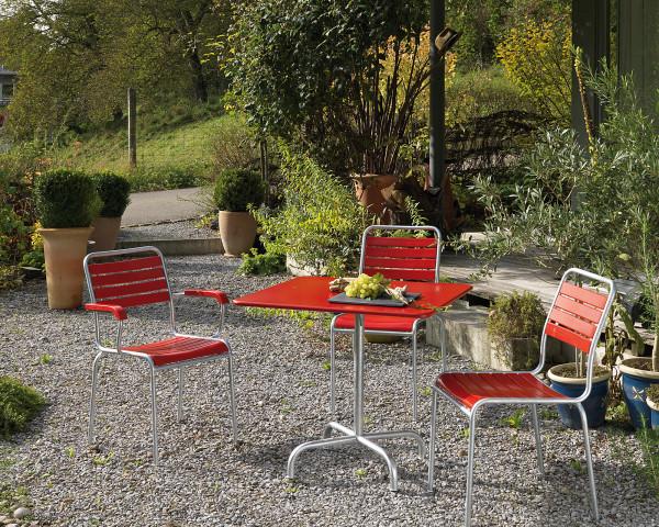 Gartentisch set Rigi Rot Feuerverzinkt für 3 Personen klappbar stapelbar Schaffner Gartenmöbel BOWI - bowi.ch