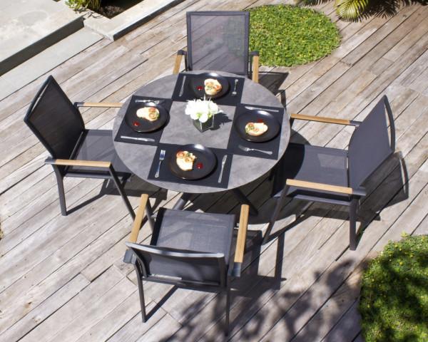 Gartentisch Set Mikado Fly Rund HPL Batyline® Textilen Gartenmöbel BOWI - bowi.ch