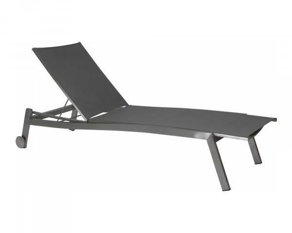 Liegestuhl Allround verstellbar Sonnenliege Aluminium Graphit Silbergrau Gartenmöbel BOWI - bowi.ch
