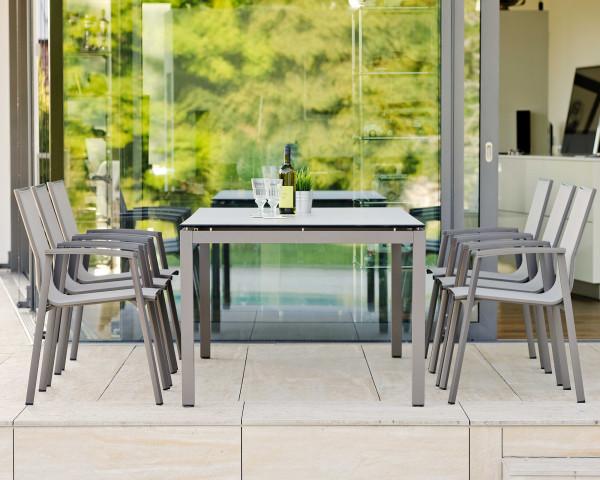 Gartenmöbel Tischset 6er New Top Taupe HPL Stern® - bowi.ch