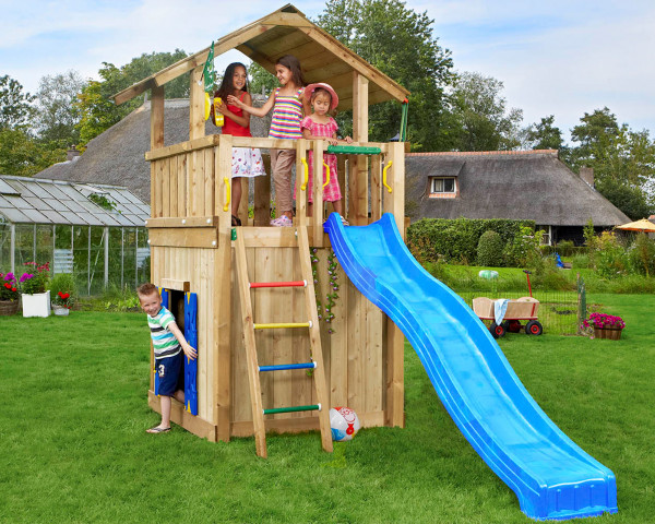 Spielturm Chalet mit Playhousemodul, Rutschbahn und Sprossenleiter - bowi.ch