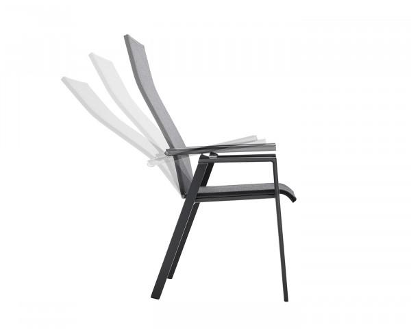 Gartenstuhl Soul mit Rückenlehne verstellbar Armlehne Aluminium Textilen Softex coal - bowi.ch