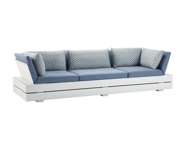 Garten Lounge Boxx Sofa Gross wasserfeste Kissen in Hellblau Zierkissen gemustert Grestell Aluminium Weiss mit Aufbewarungsboxox - bowi.ch