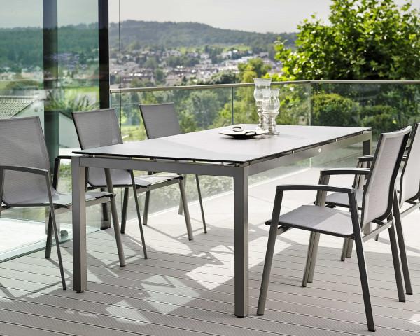 Gartentisch Set 6er New Top Textilen Silber Gestell Antrhazit Tischplatte HPL - bowi.ch