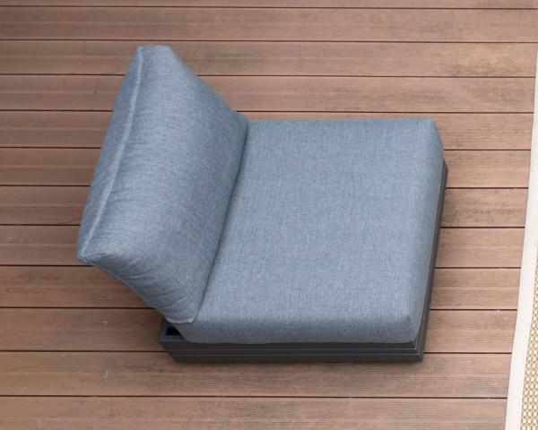 Garten Lounge 1er Sitz Cubo verstellbar Olefin Bezug Dunkelgrau Aluminium Gestell Garternmöbel BOWI - bowi.ch