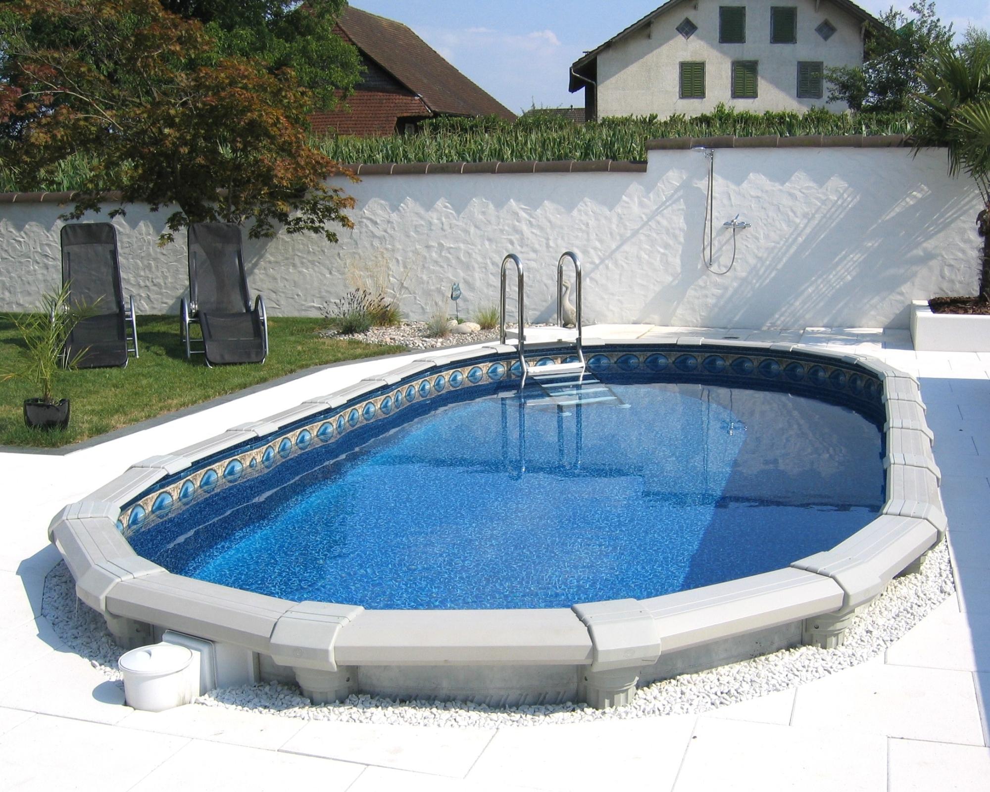 Starkes Stahlwand Pool: Grösse oval 6.60 x 3.25 m - H ...