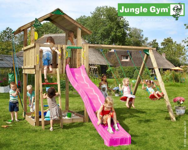 Spielturm Chalet Jungle Gym mit Anbauschaukel 2-teilig, Rutschbahn, Sandkasten, Sprossenleiter - bowi.ch