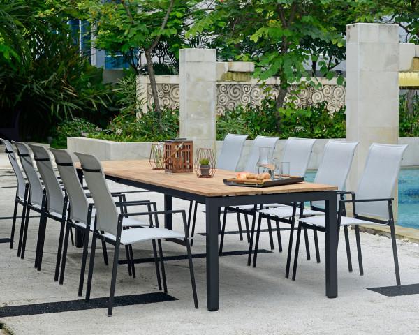 Gartentisch Auszug Set 10er Tischplatte Teakholz Gestell Edelstahl Anthrazit Sessel Textilen Silber Gartenmöbel BOWI - bowi.ch