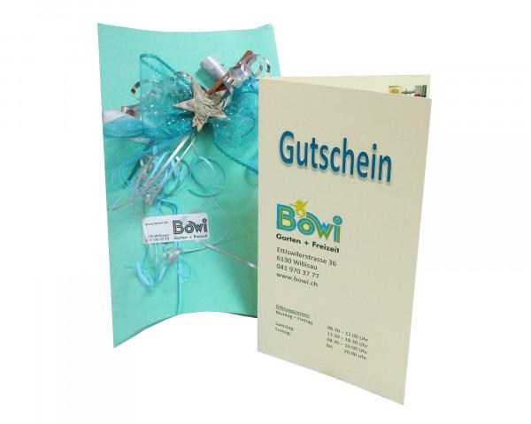Gutschein Bowi mit Gutscheinbox Weihnachten - bowi.ch