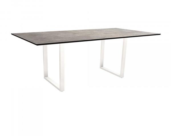 Kufen Gartentisch Miguel HPL 2.0 Platte Gestell Aluminium Weiss - bowi.ch