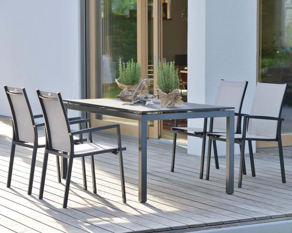 Gartentisch Set New Levanto Aluminium Anthrazit Silber HAL Silverstra 2.0 - bowi.ch