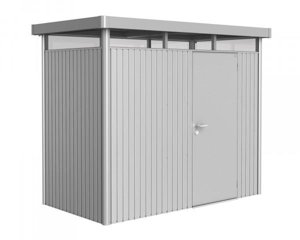 Das Gerätehaus HighLine® H1 mit Flachdach und durchgehendem Oblicht Silber Metallic Standardtüre - bowi.ch