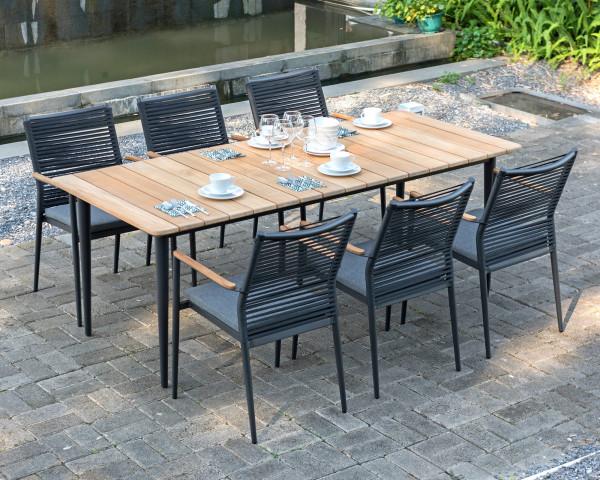 6er Gartentisch Set Spider Teakholz Aluminium pulverbeschichtet Sessel geschnürt Gartenmöbel BOWI - bowi.ch
