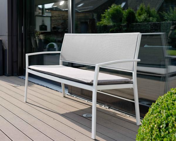 Gartenbank Allround Weiss Sitz- und Rückenlehne Silber - bowi.ch