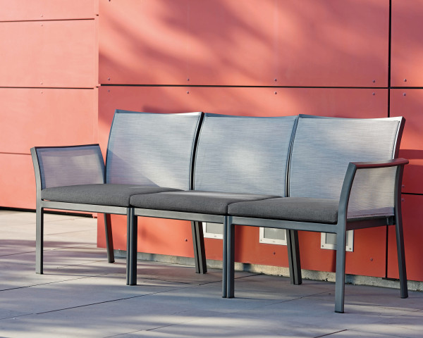 Gartenbank Gianni 3-teilig Gestell Aluminium Anthrazit Textilen Silber - bowi.ch