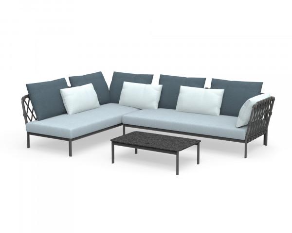 Garten Lounge Caro Set Kordel wasserfeste Kissen Kordel Anthrazit Aluminium Gestell Anthrazit Gartenmöbel BOWI - bowi.ch