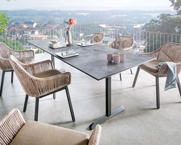Gartentisch Set Garda Auszug mit HPL Platte und Edelstahlgestell Eisengrau lackiert - bowi.ch