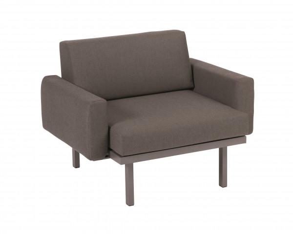 Garten Lounge Sylt Sessel mit Polster Armlehnen Grau Metallic wasserfeste Kissen Karasek Gartenmöbel BOWI - bowi.ch
